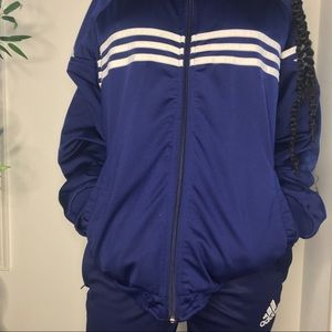 navy blue adidas track suit